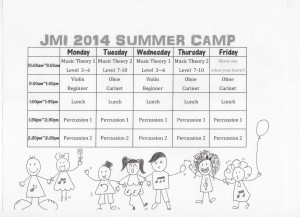 Summer Camp Schedule 2014